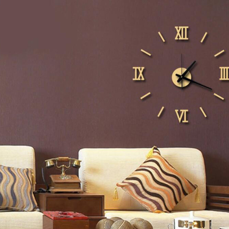 Honana DX-X5 Creative 3D Acrylic Mirror Wall Sticker Quartz Clocks Watch Large Home Decor