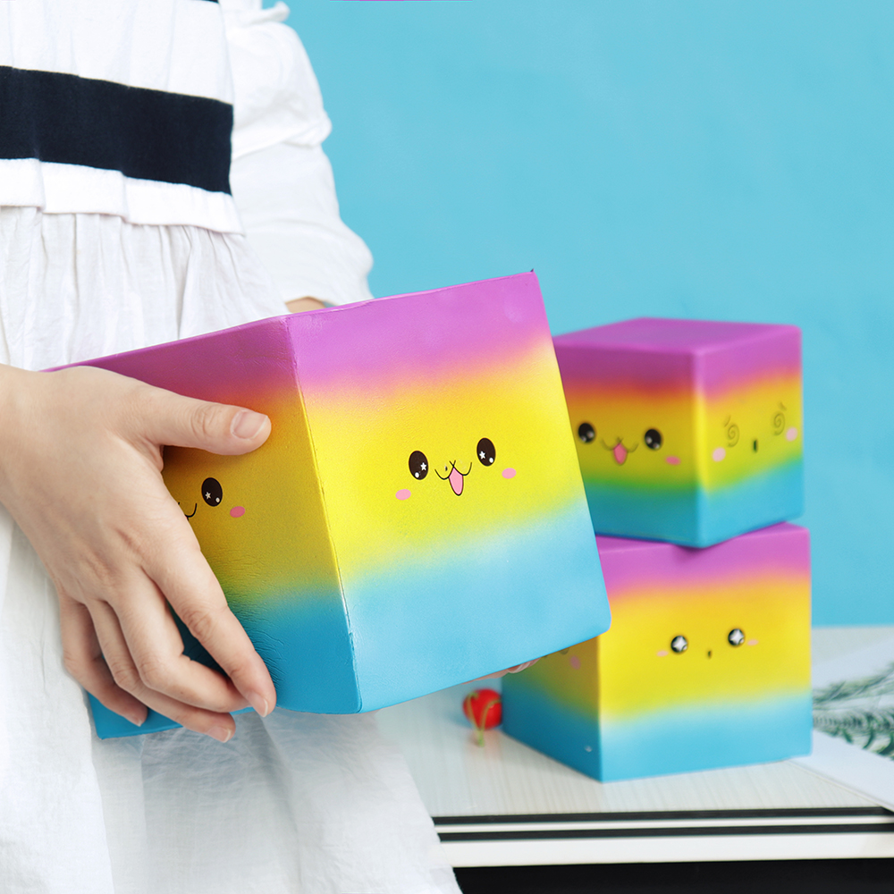 Huge Squishy Square Cake Rainbow Colour Kawaii Cute Soft Solw Rising Toy Cartoon Gift Collection