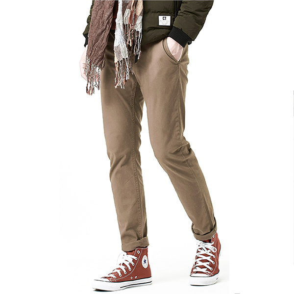 Autumn Winter Mens Young Solid Color Trousers Male Retro Footwork Dress Casual Pants