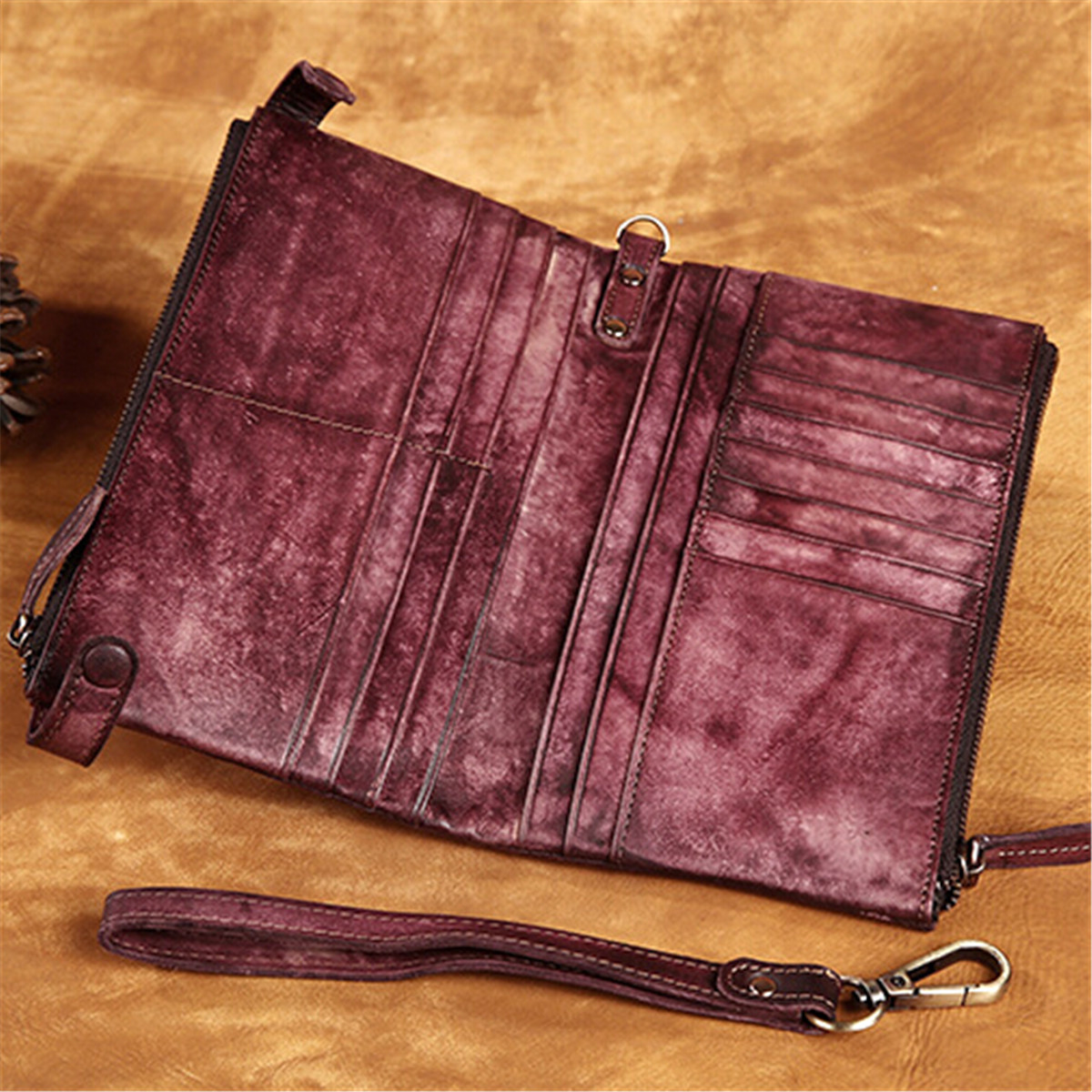 Women Genuine Leather Wallet Case Phone Bag Vintage Clutch Wallet Card Case for under 6 inches Phone