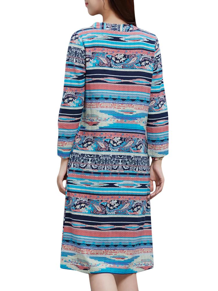 Vintage Stripe Printing Long Sleeve Loose Women Dress