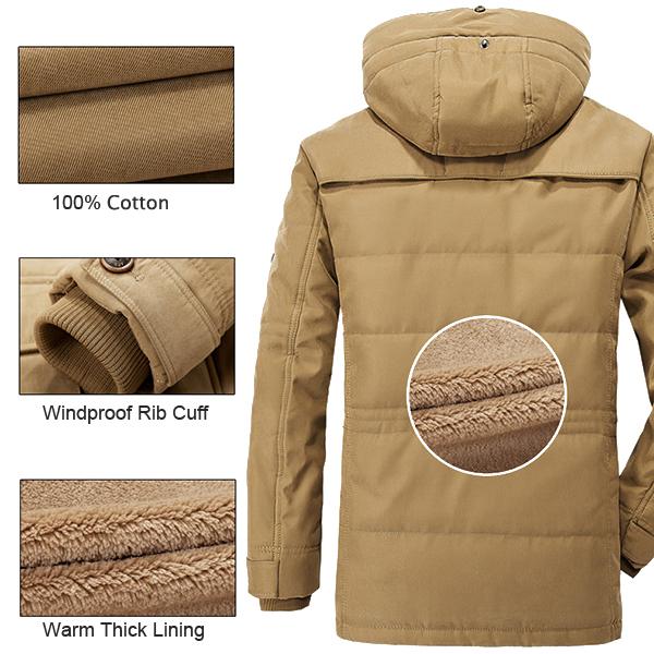 Manteau Hommes Epais Toison d\'Hiver à Capuchon en Plein Air Veste de Couleur Unie