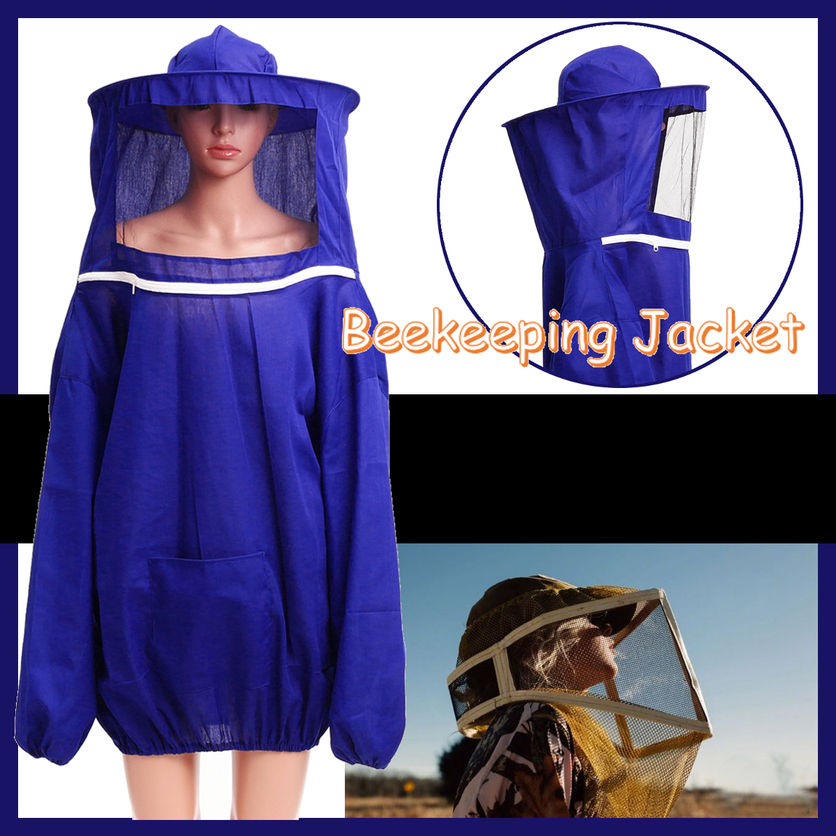 Beekeeping Jacket Veil Beekeeping Tools Set Suit Hat Veil Smock Protective Equipment