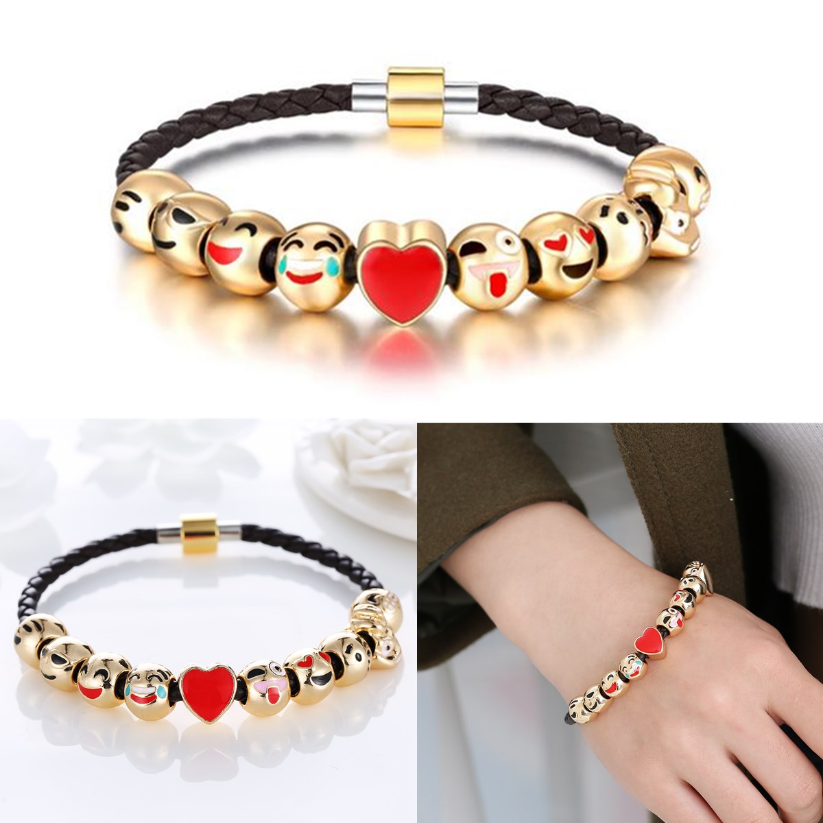 Cute Face Cartoon Metal Rope Gold Plated Beads Bracelet