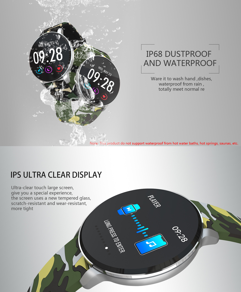 XANES® SN11 1.3'' IPS Color Screen IP68 Waterproof Smart Watch Heart Rate Monitor Pedometer Fitness Exercise Bracelet