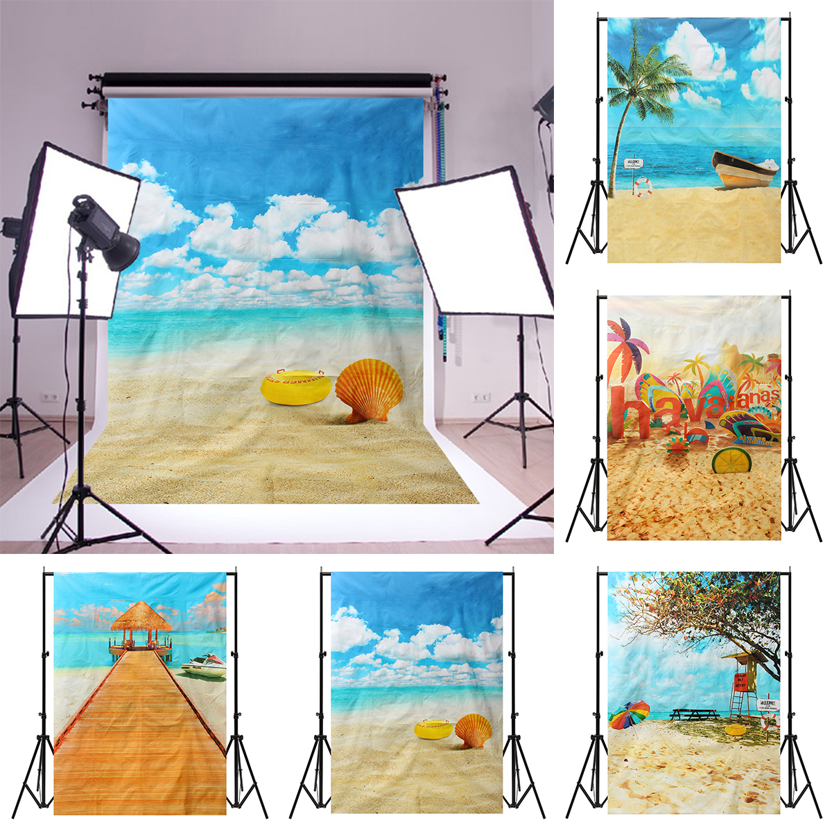5x7ft Summer Sunshine Beach Vocation Sea Photography Backdrop Studio Prop Background