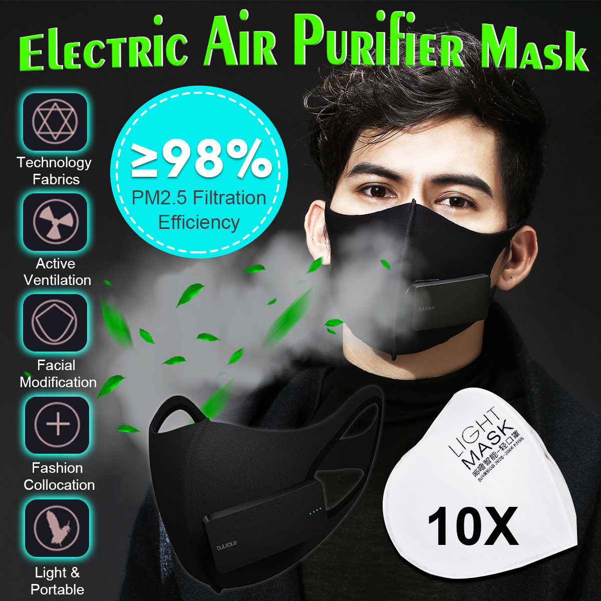 Intelligent Rechargeable PM2.5 Dust Face Mask Haze Anti-Pollution Filter Sport Running Motorcycle Air Breathing Purifier