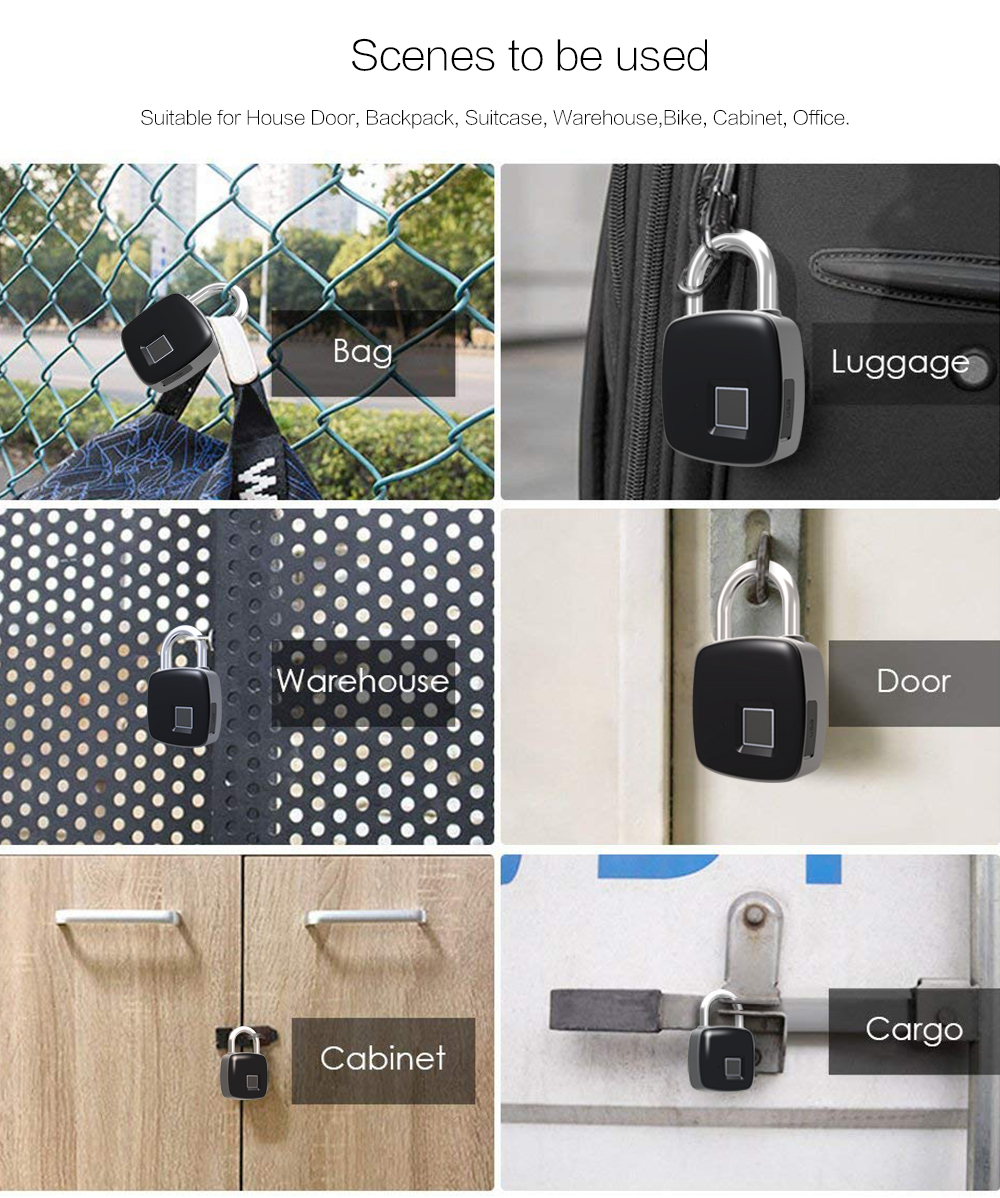 P3 Smart Fingerprint Door Lock Padlock Safe USB Charging Waterproof Keyless Anti Theft Lock