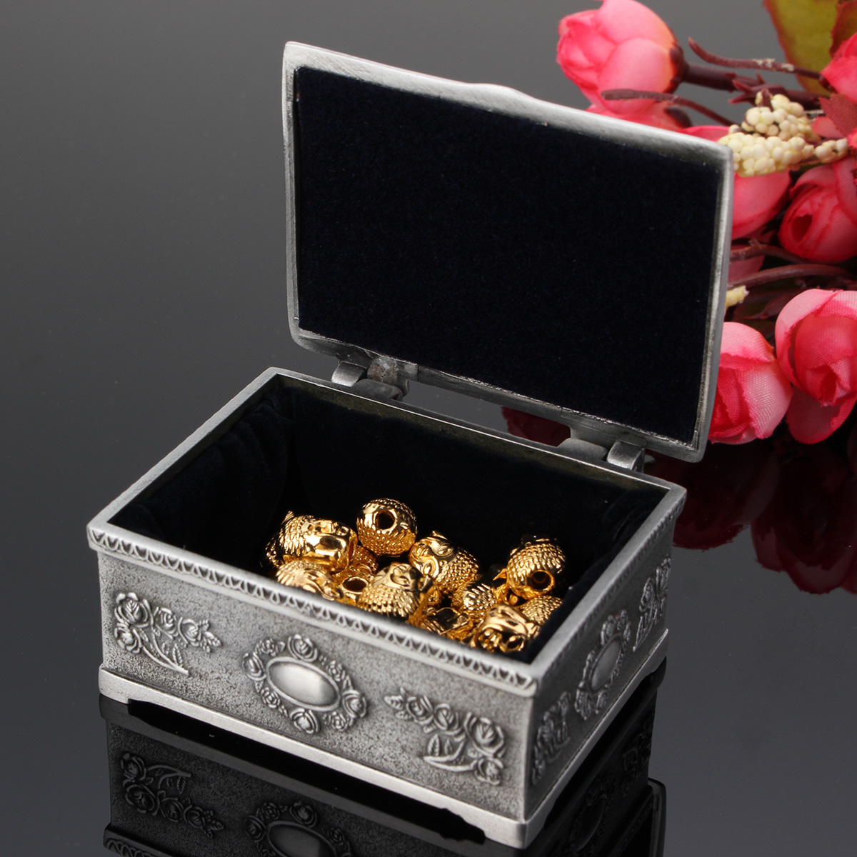 Vintage Bracelet Earrings Necklace Jewelry Gift Storage Box Case Holder