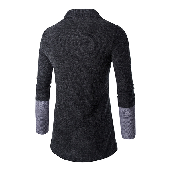 Mens Fashion Stitching Turn-down Collar Knitted Cardigans Casual Slim Fit Sweater