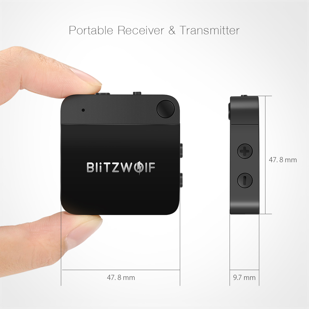 BlitzWolf® BW-BR2 bluetooth V4.1 aptX Music Receiver Transmitter 3.5mm AUX Audio 2 in 1 Adapter