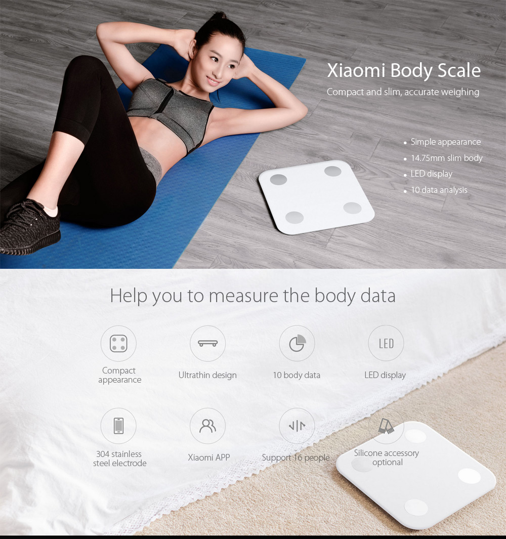 Original Xiaomi bluetooth 4.0 LED Smart Body Fat Scales with BMI Data Analysis Weight Tools