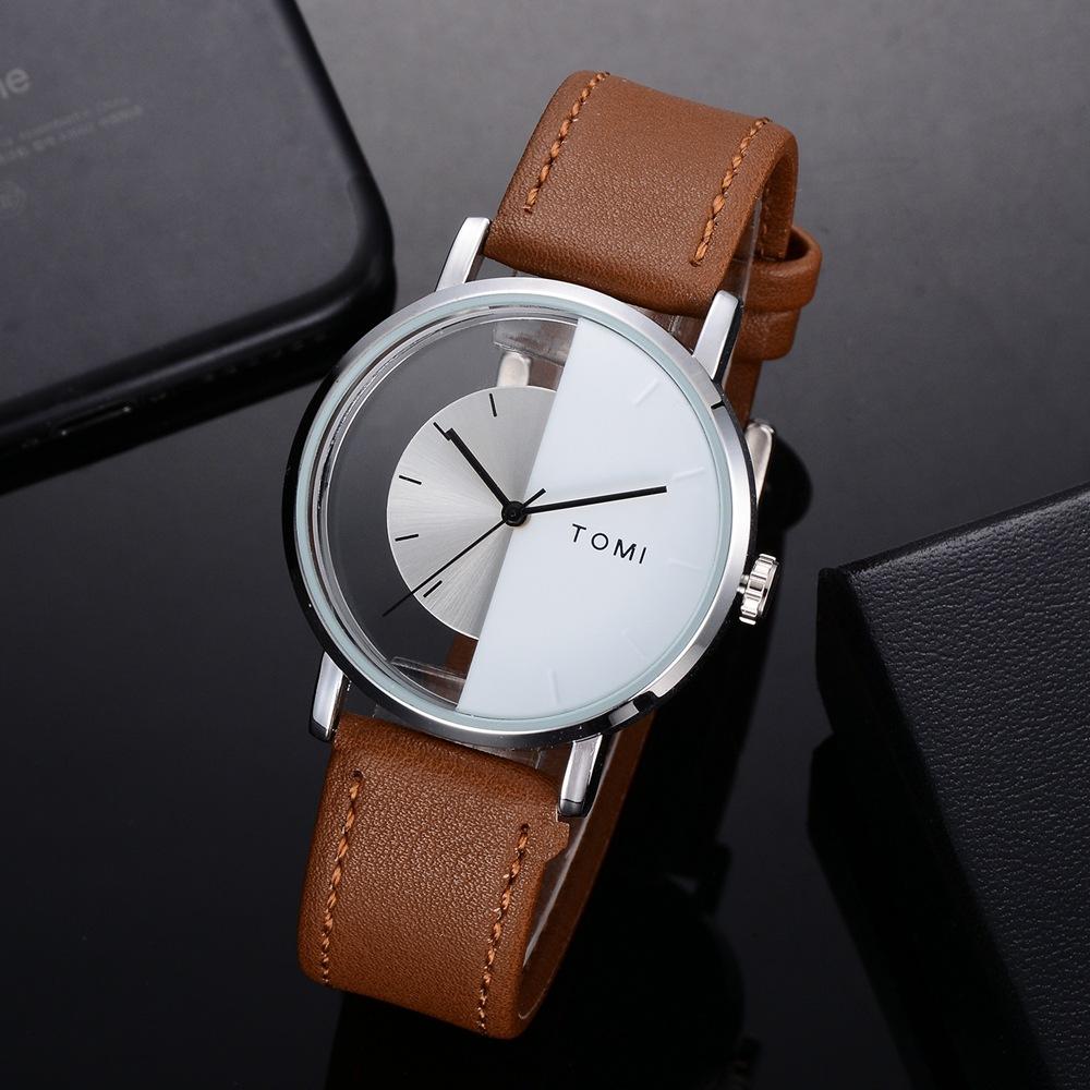 TOMI T017 Transparent Vintage Style Leather Quartz Watch