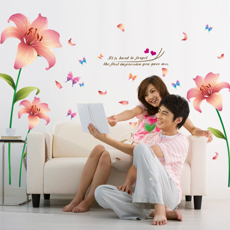 3D Lily Pink Flowers Wall Sticker Sitting Room Household Adornment Bedroom Decorations Wall Stickers