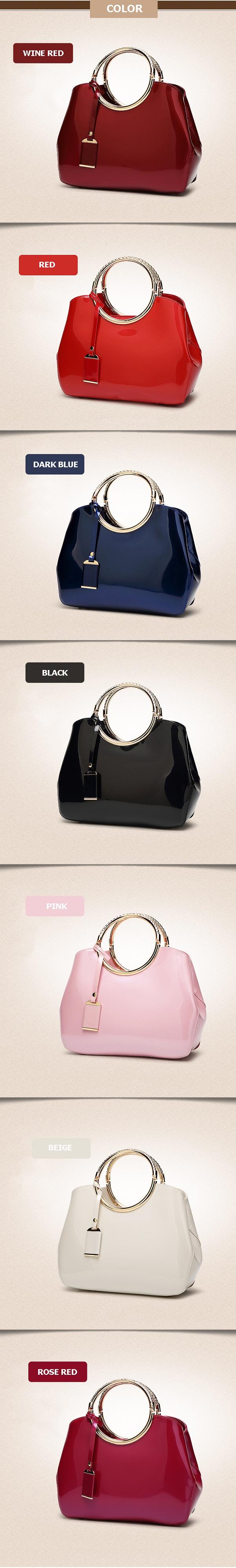 Women High Quality Patent Leather Elegant Handbag