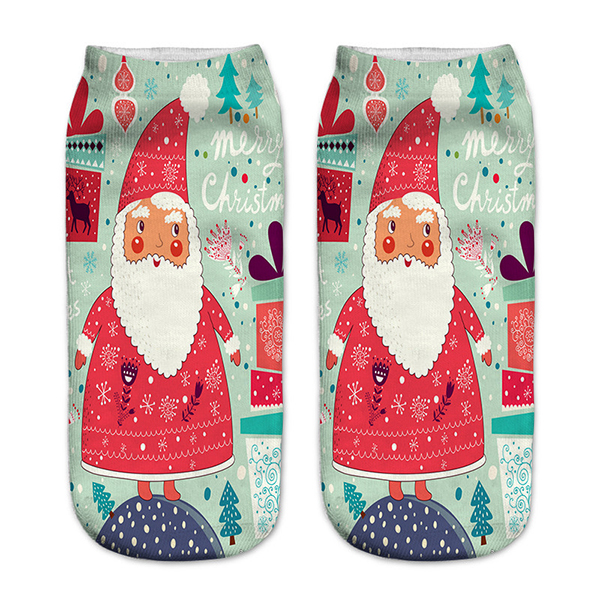 Women 3D Print Cute Santa Claus Ankle Socks Casual Low Cut Christmas Socks