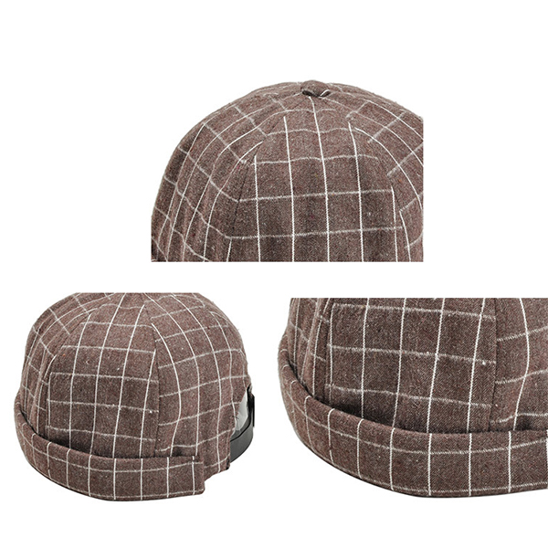 Men Women Canvas Plaid Skullcap Sailor Cap Rolled Cuff