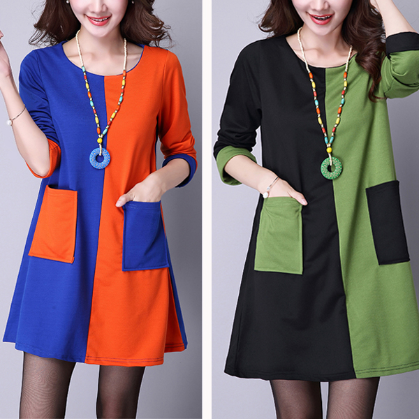 Vintage Women Patchwork Pocket Dresses