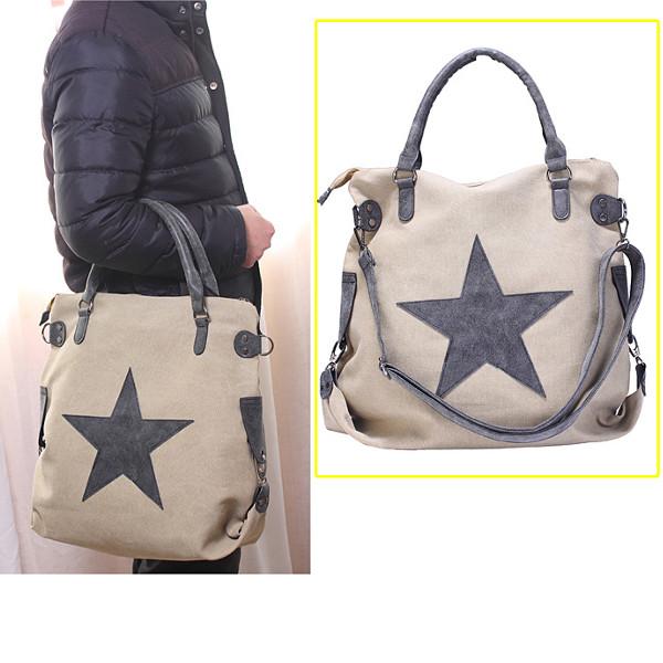 Women Star Canvas Tote Handbags Retro Shoulder Bags Capacity Shopping Crossbody Bags