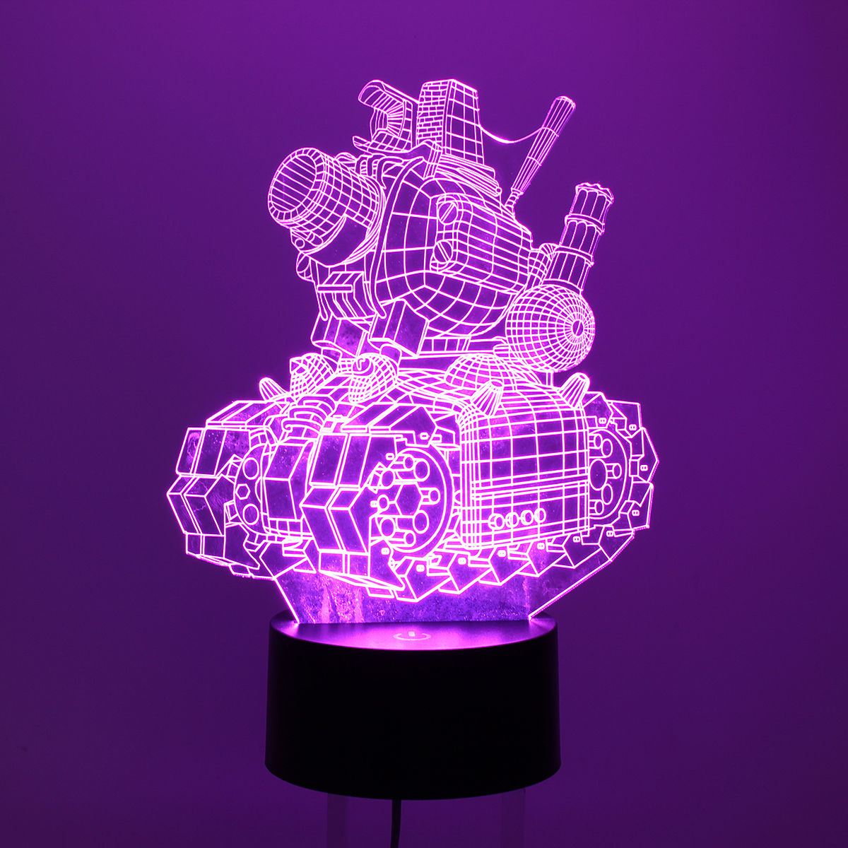 Model Tank 3D Visual Night Lights 7 Color Change LED Touch Switch USB Table Lamp Light