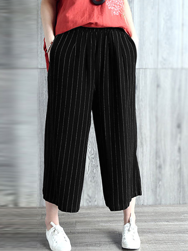 Women High Waist Casual Loose Stripe Long Pants