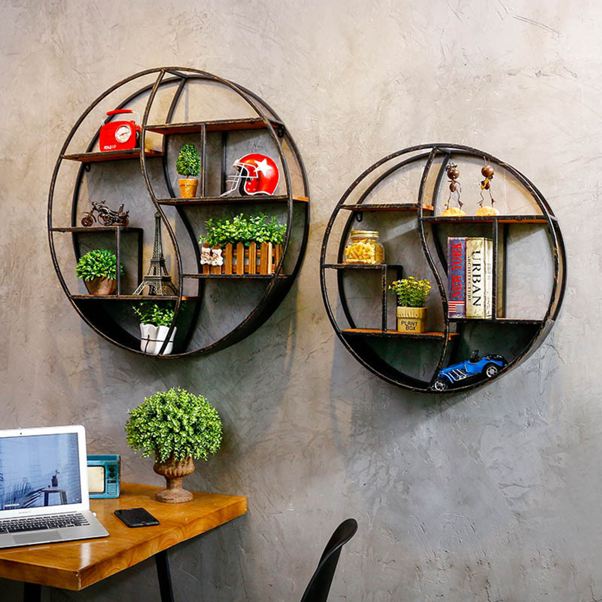 59/80cm Round Shelf Metal Wood Storage Bookcase Wall Mounted Bracket Room Decor