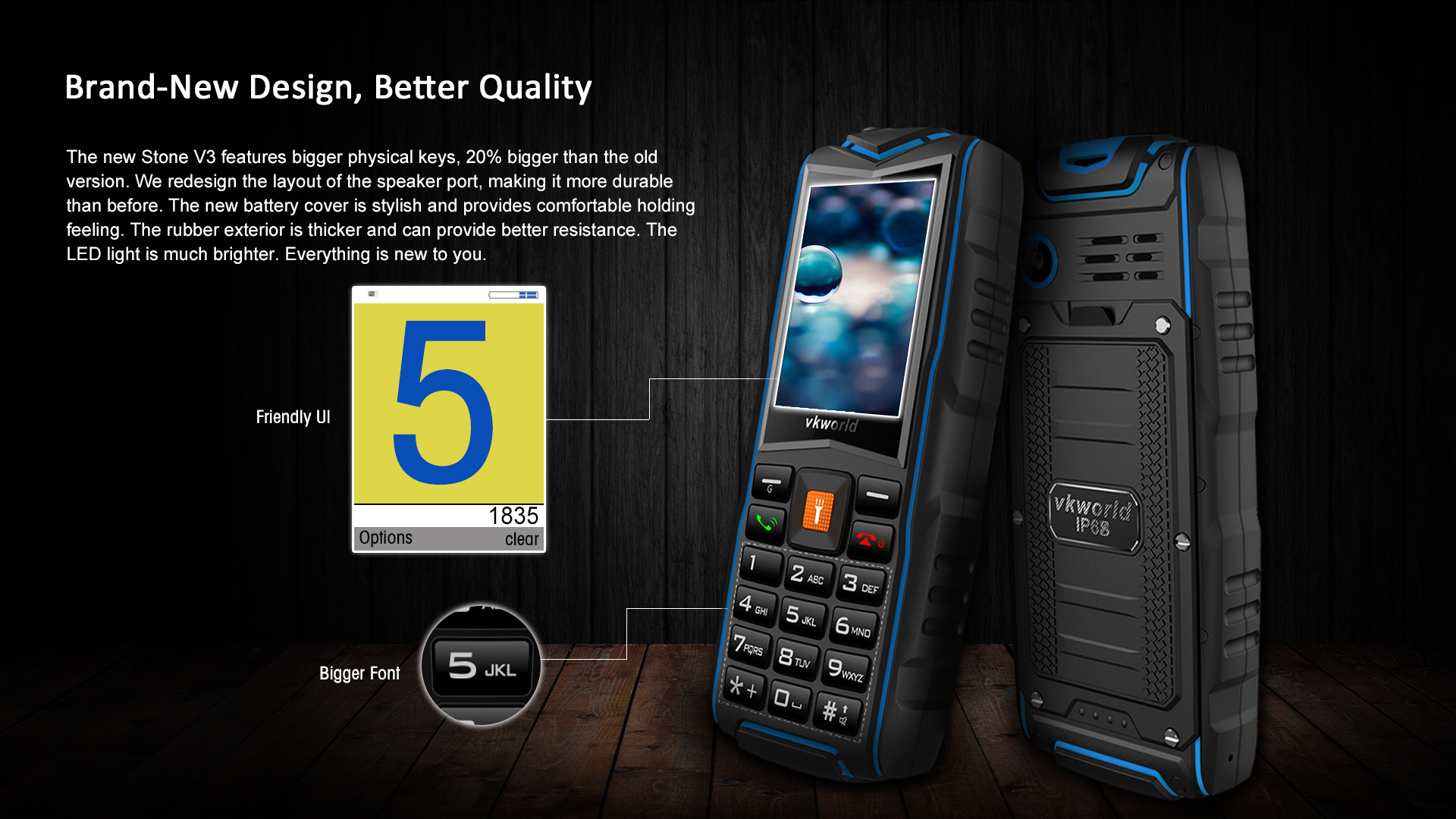 Vkworld New Stone V3 IP68 3000mAh 2.4 Inch 3 SIM Cards 2MP Waterproof Outdooors Mobile Phone