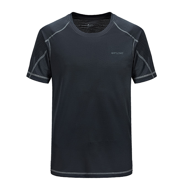 Mens Outdoor Quick Drying Sports T-shirt Round Neck Short Sleeve Top Tees