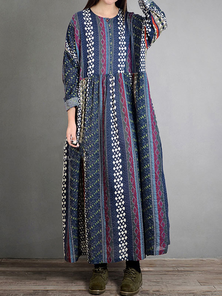 Folk Style Geometry Print Vintage Dress