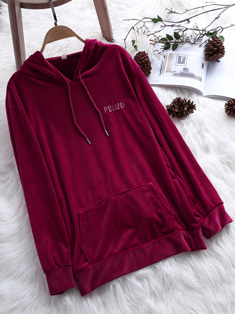 Women Fluffy Pleuche Long Sleeve Hooded Sweatshirt
