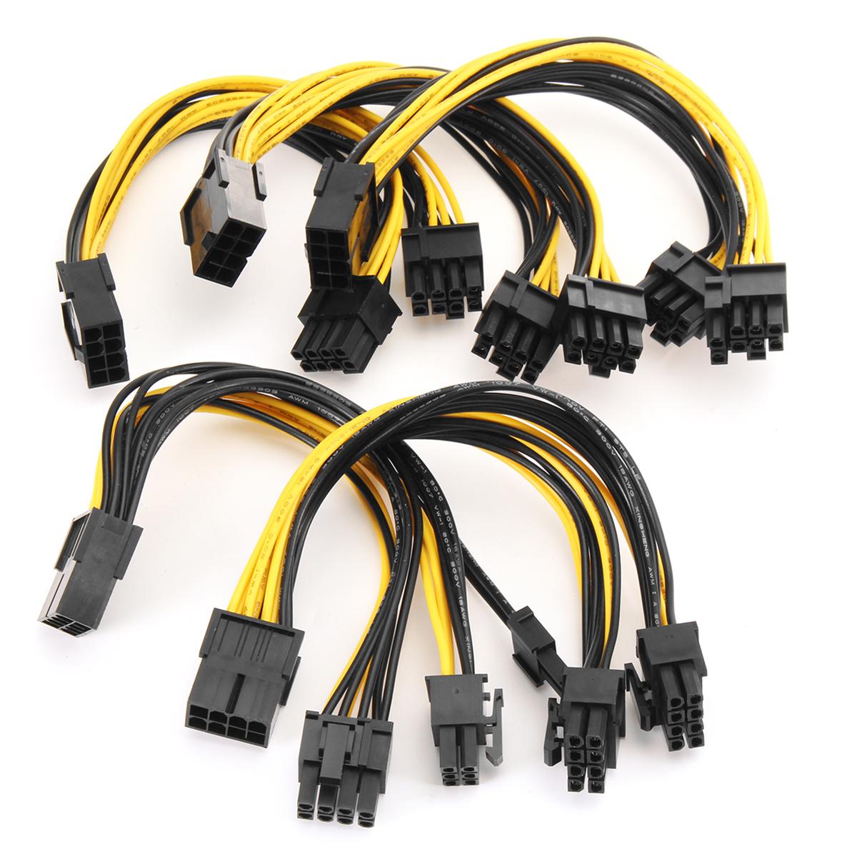 5pcs PCI-E 8-pin to 2x 6+2-pin Power Splitter Cable PCIE PCI Express Splitter Ribbon Miner Cable