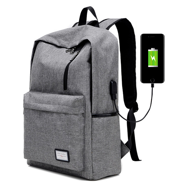 Men Fashion Multi-function Mochila School Bag with External USB Charging Port