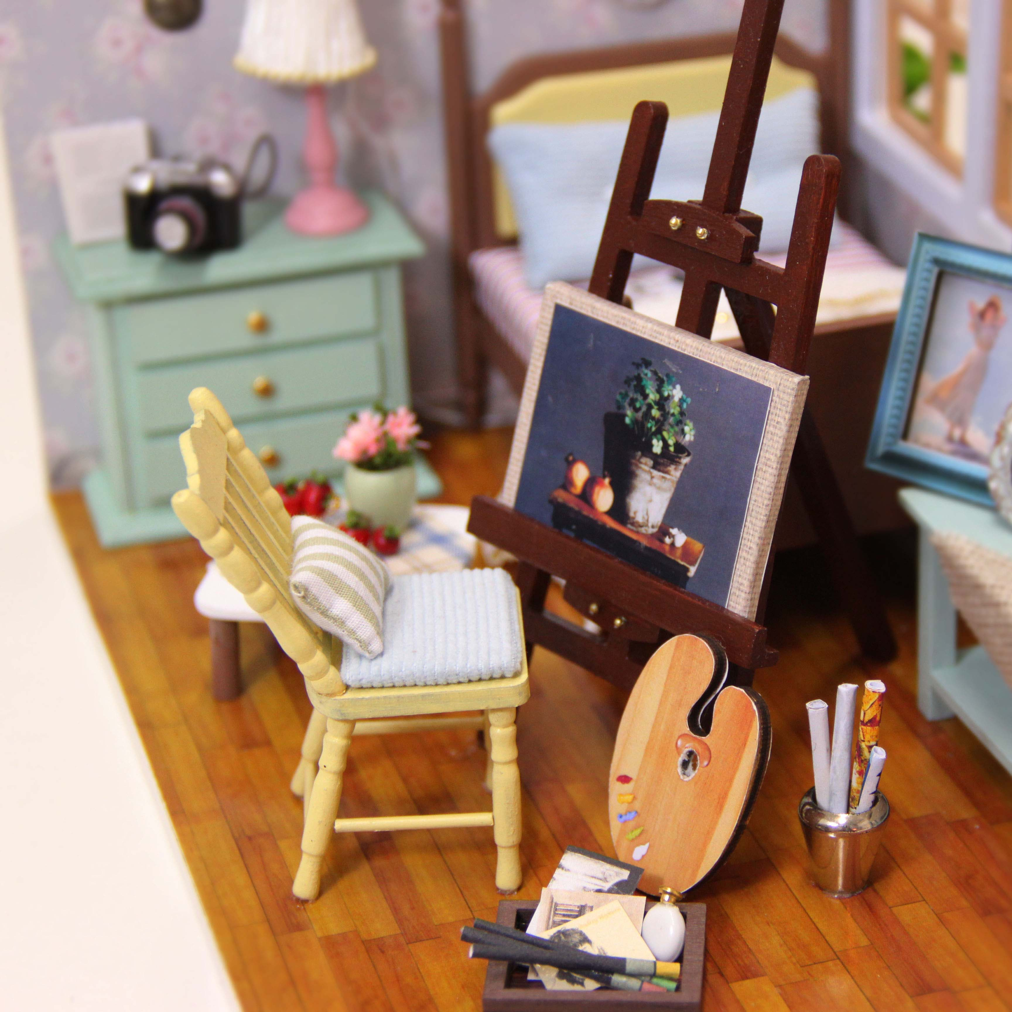 Cuteroom Diy Doll House Miniature Wooden Handmade Model Building Kits Birthday Gift Beautiful time