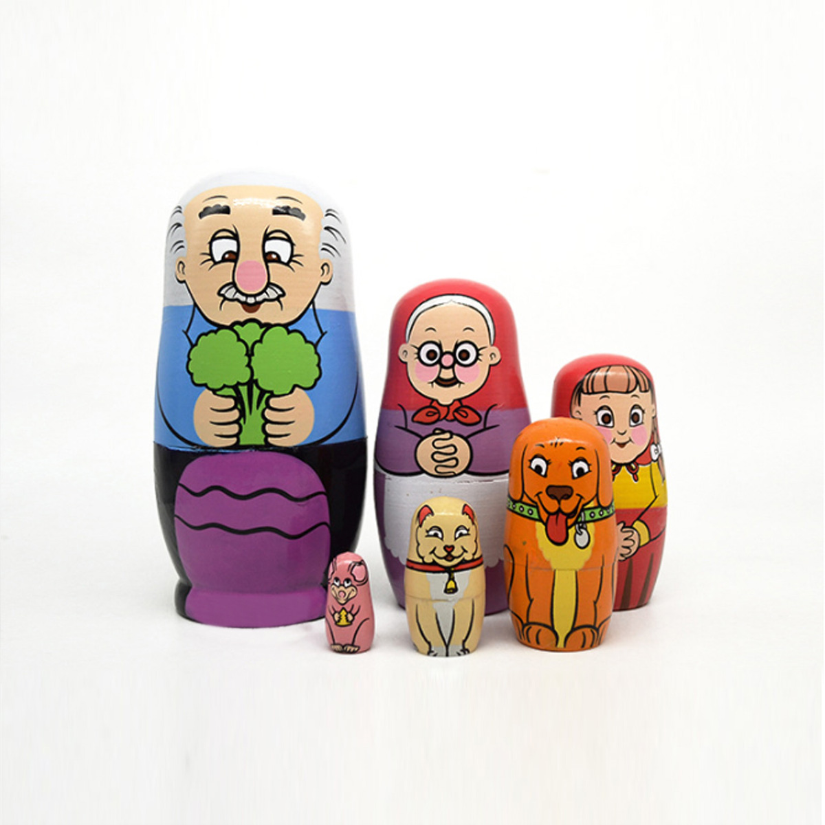 6PCS Russian Wooden Nesting Doll Happy Family Handcraft Decoration Christmas Gifts