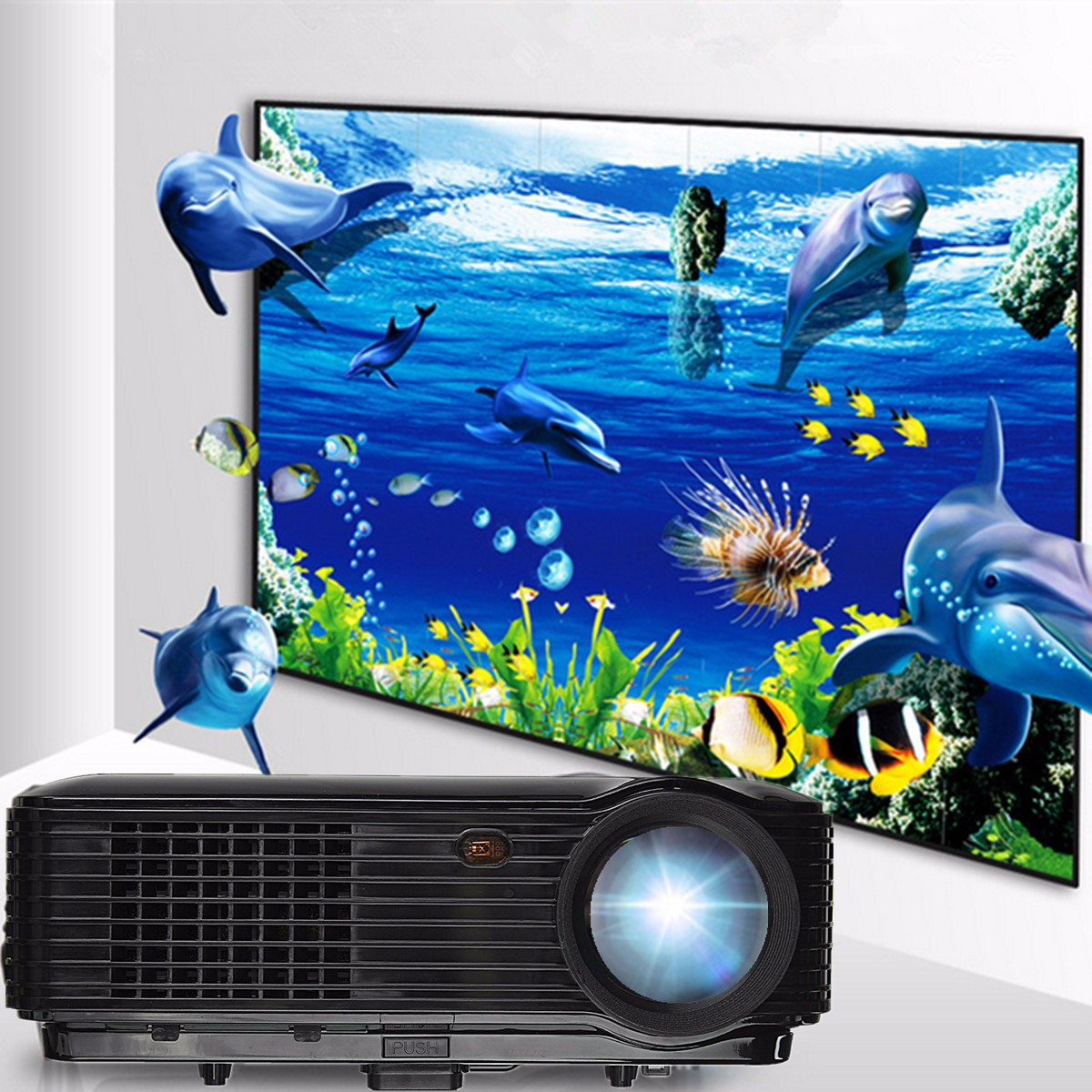 ELEGIANT 3500Lm LED Portable Projector 800x480 Resolution Home Theater Support 1080P USB VGA SD AV
