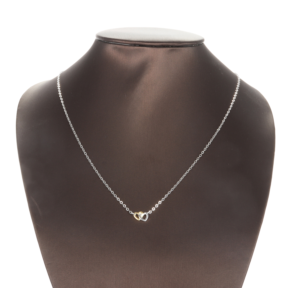 Classic Heart Pendant Necklace Silver Gold Heart to Heart
