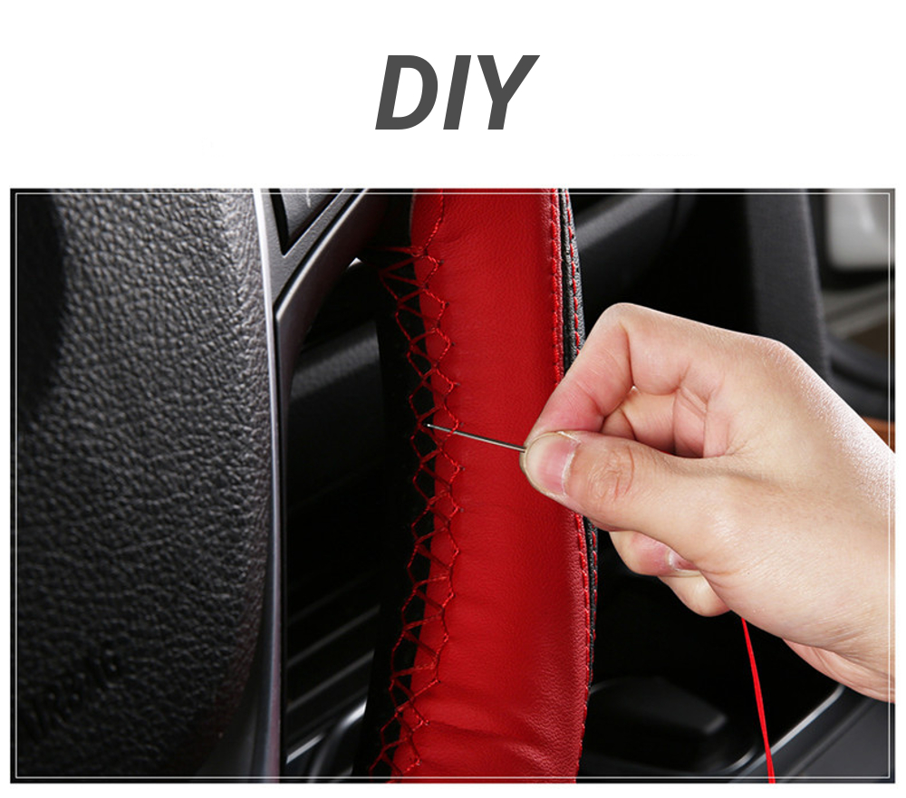 38cm Universal DIY Microfiber Leather Car Steering Wheel Covers Non Slip With Needles and Thread