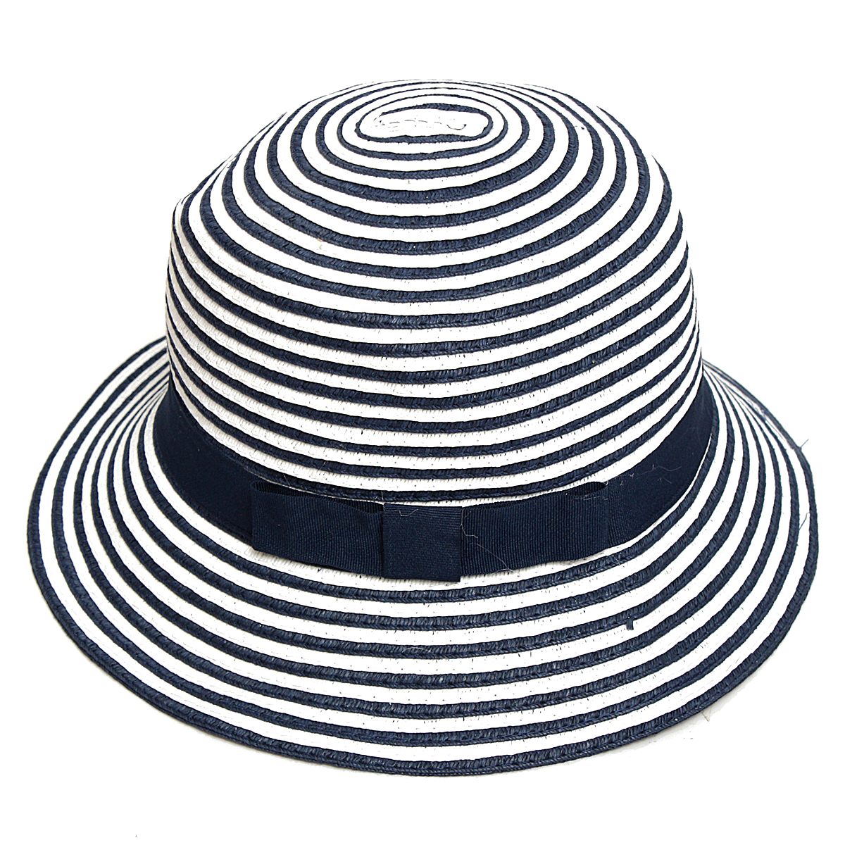 Women Girls Straw Floppy Blue Stripe Wide Brim Summer Beach Sun Hat Foldable Cap