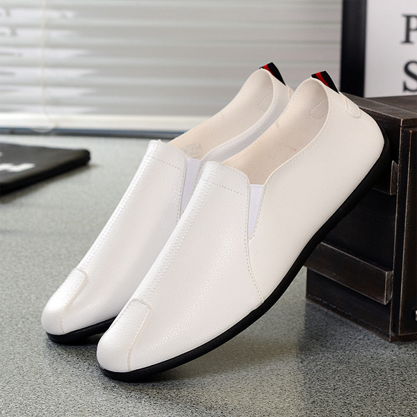 Men Casual Soft Sole Leather Slip On Cap Toe Loafers Flats