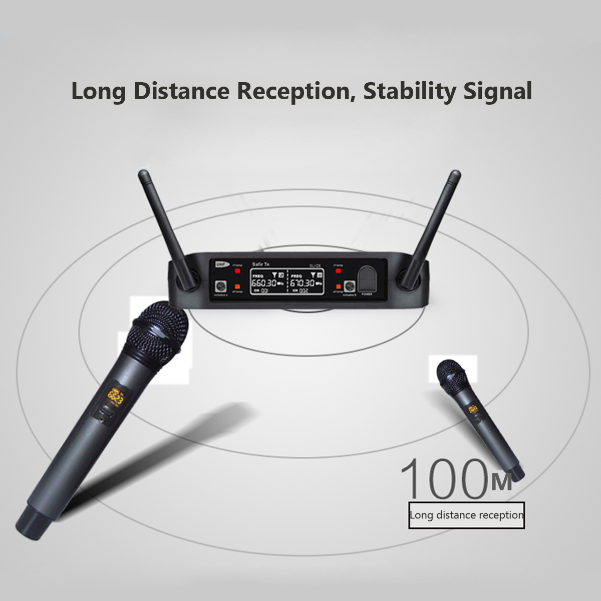 GLXD8-B Anti-wrestling LCD Wireless Handheld Microphone Speaker US/AU Plug for TV Cell Phone PC