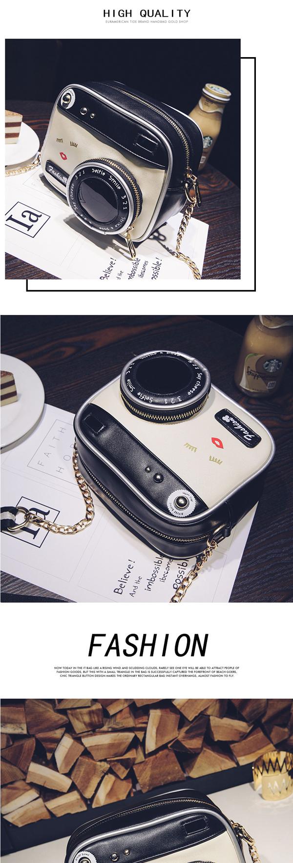 Women's Crossbody Bag Vintage Camera Shape Colorblock Zipper Bag