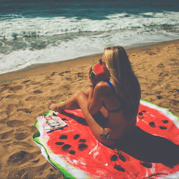 Women Summer Round Watermelon Printing Beach Towel Multi-Purpose Sunscreen Shawl Scarf