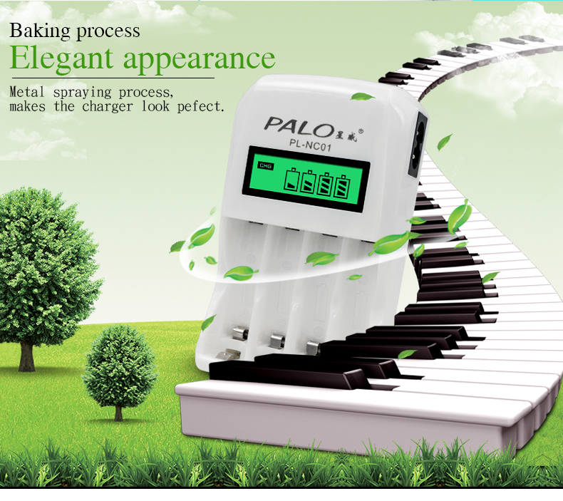 Palo C907W 4 Slots Smart Intelligent Charger For AA / AAA NiCd NiMh Battery LCD Display