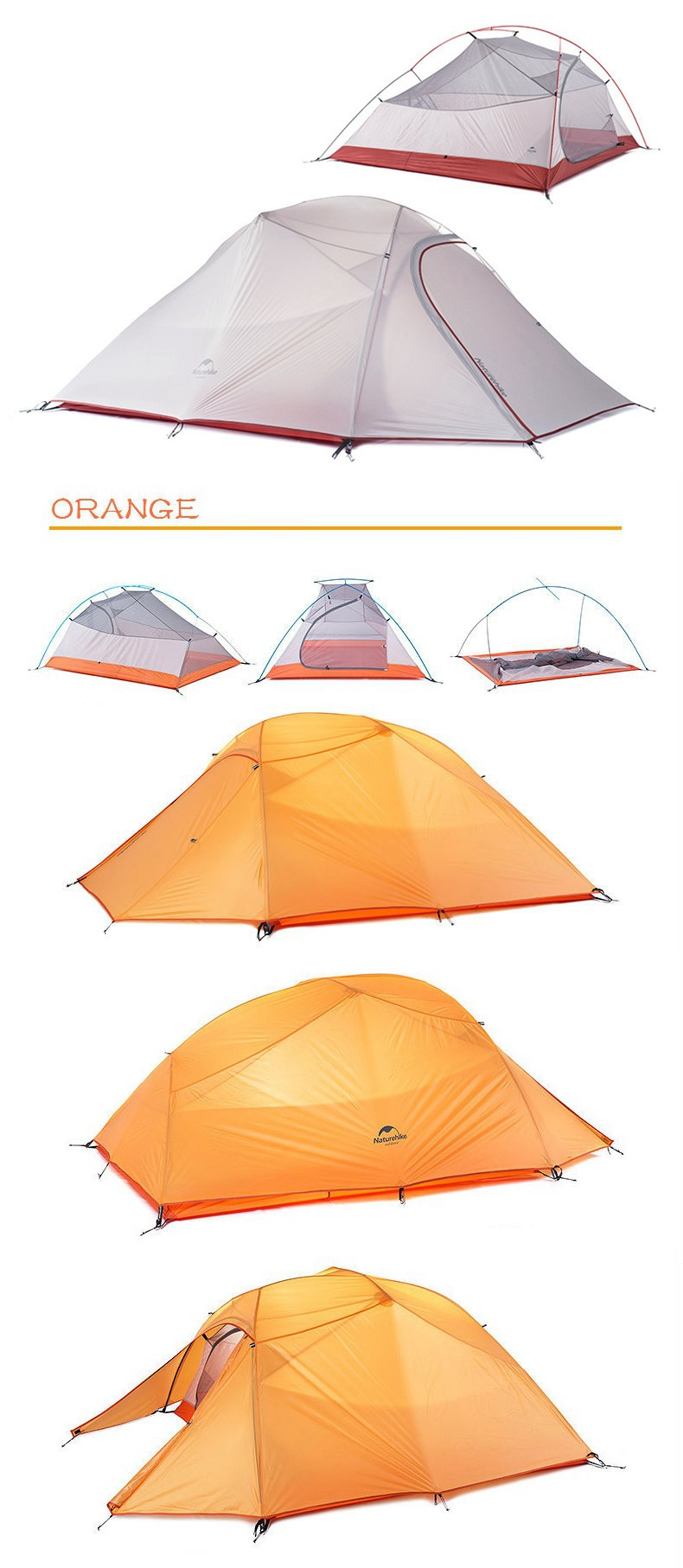 Naturehike NH15T003-T Outdoor 3 Persons Camping Tent Double Layer Waterproof UV Sunshade Canopy