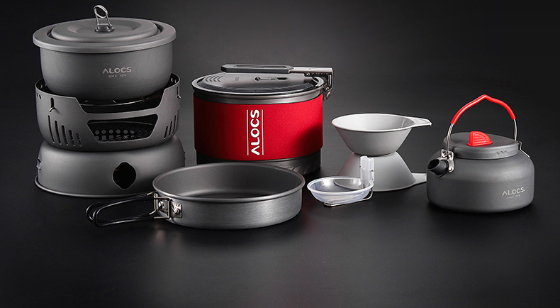 Alocs 1.4L 1-2 Person Fast-Heating Pot Camping Picnic Jacketed Kettle Cookware