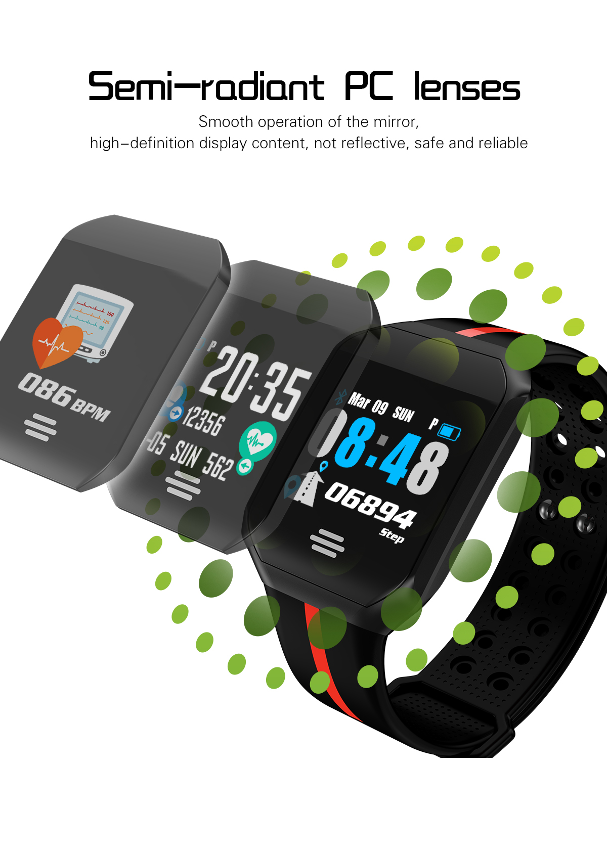 Goral B07 1.0 inch Long Standby Blood Pressure Heart Rate Monitor Fitness Tracker Smart Bracelet