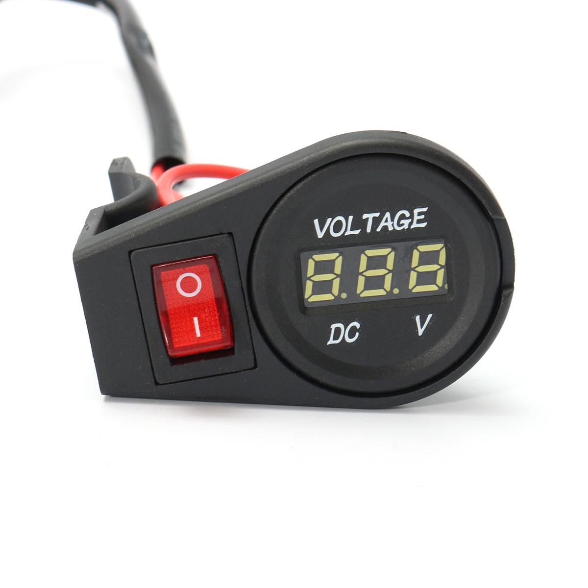12V-24V LED Digital Display Voltmeter Voltage Gauge Motorcycle Bike On Off Switch