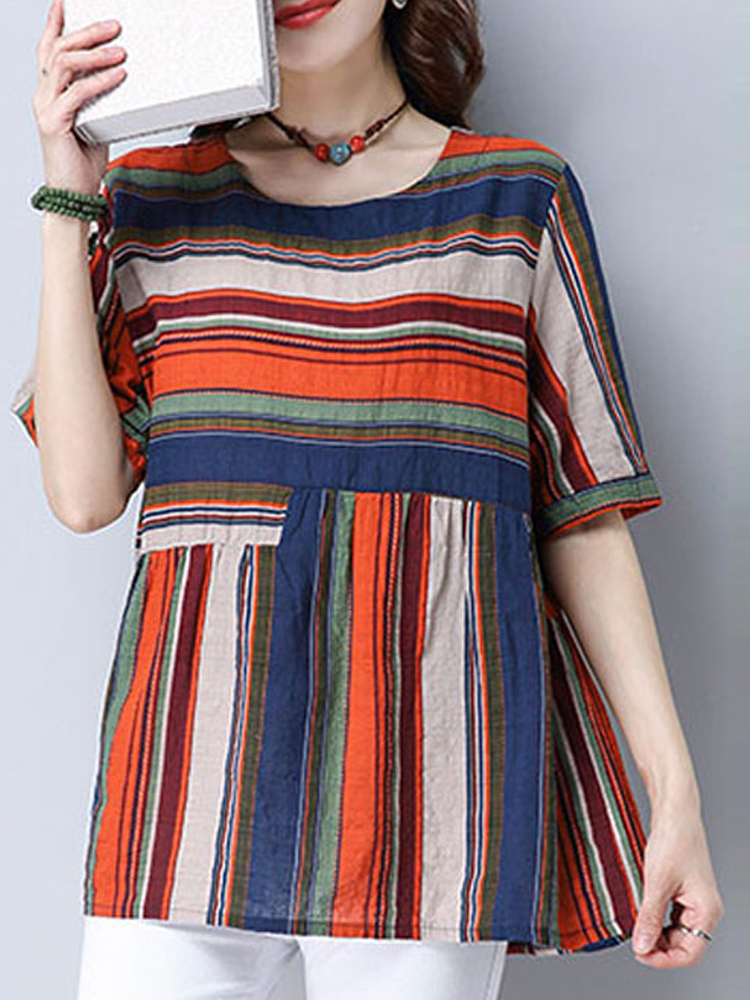 Women Short Sleeve Striped Printed Casual Loose Blouse