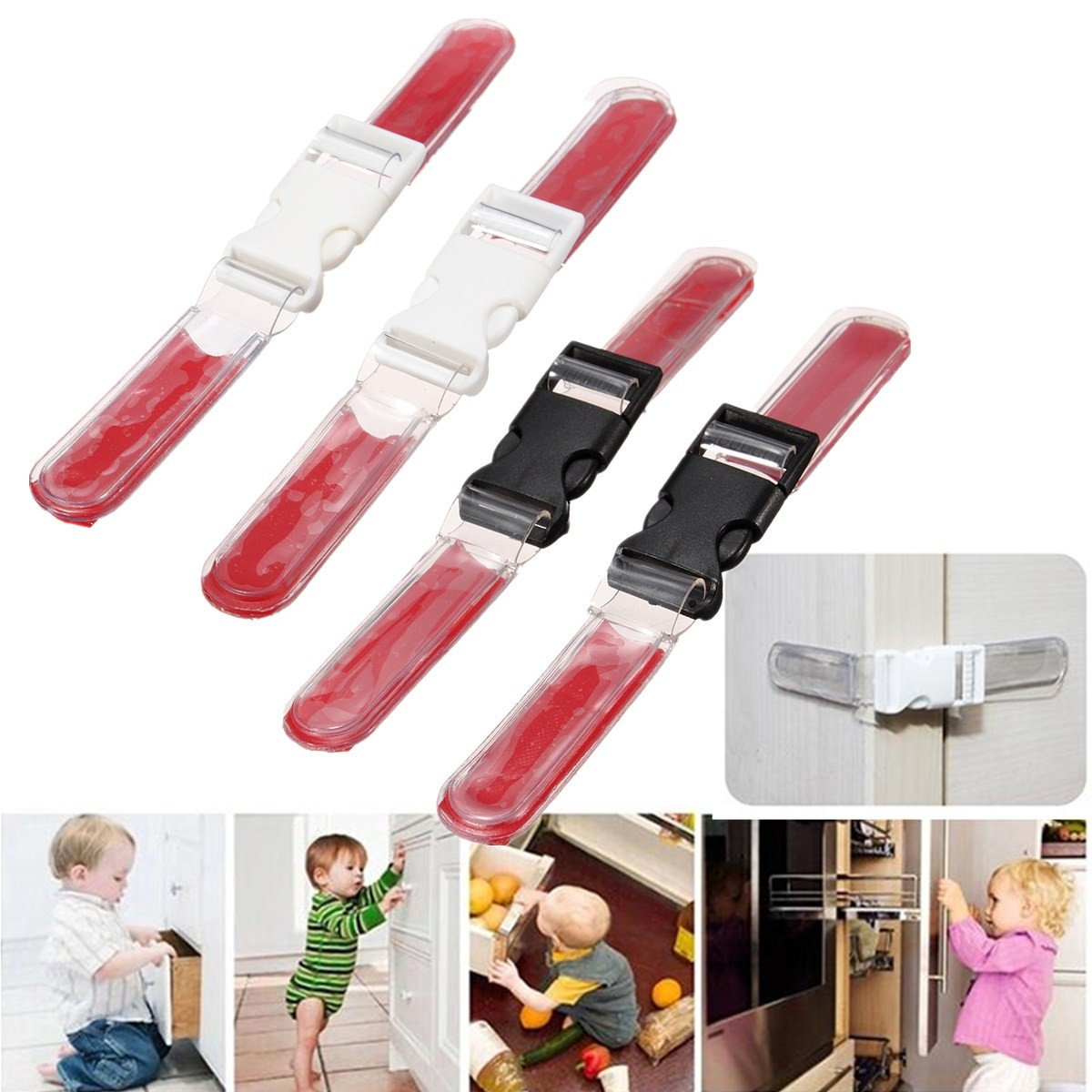 2Pcs Toddler Baby Kids Child Safety Safe Door Lock Drawer Cupboard Fridge Cabinet