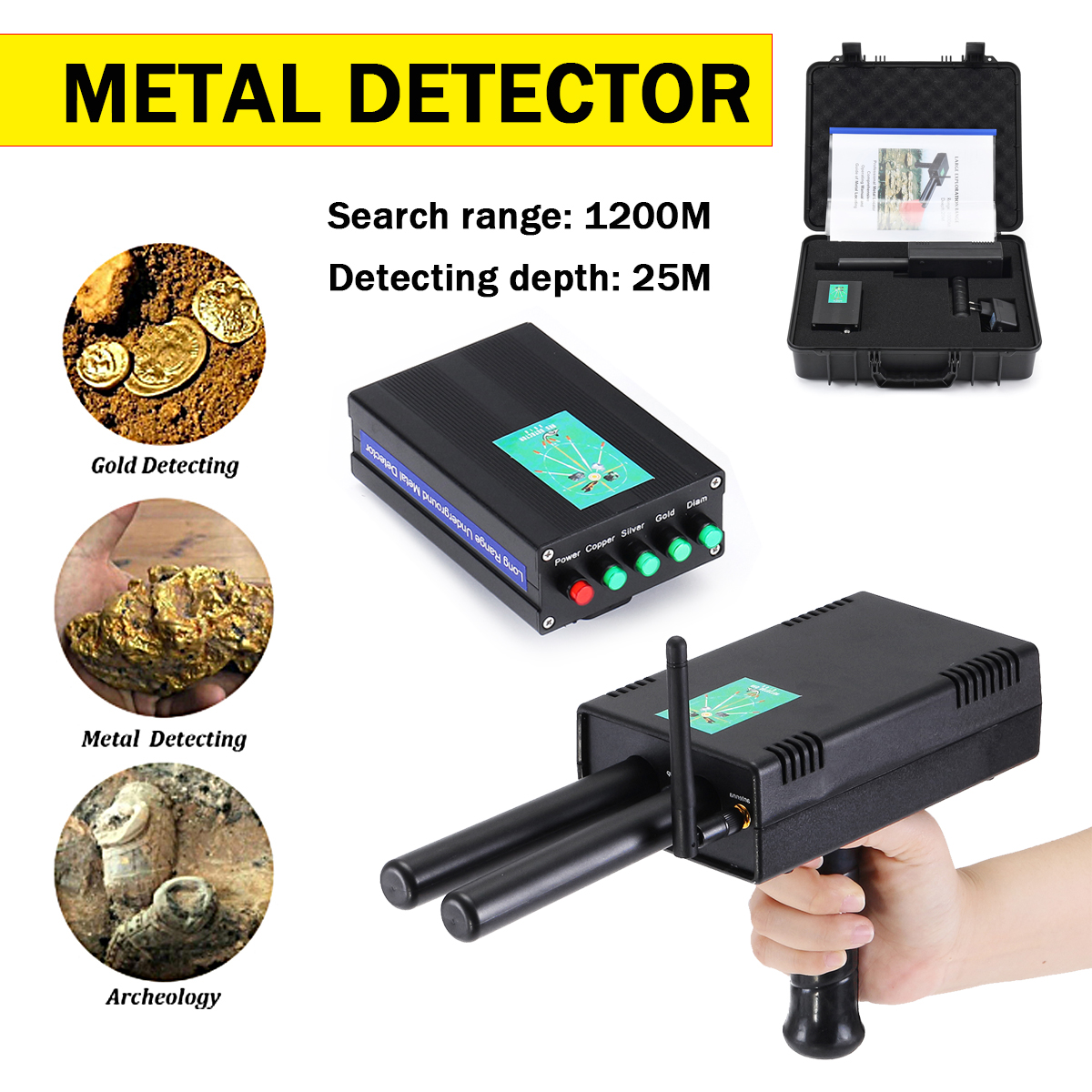 AKS Metal Detector Finder Gold Silver Copper Scanner Deep Underground Long Range